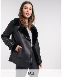 New Look Faux Fur Trim Aviator Jacket - Black
