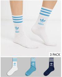 adidas Originals Trefoil 3 Pack Crew Socks - Blue