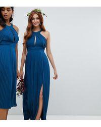 3ab64a366ebc TFNC London - Pleated Bridesmaids Maxi Dress In Petrol Blue - Lyst