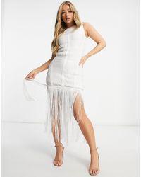 ASOS - Vestito midi accollato bianco - Lyst