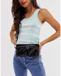 Pieces Double Front Pocket Cross Body Bag - Black