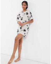 Lindex Кремовая Ночная Рубашка Из Органического Хлопка С Принтом Бульдога -белый - Многоцветный