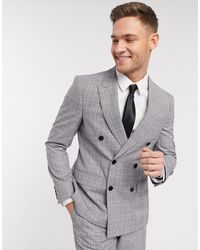 Moss Bros Moss London Eco Double Breasted Suit Jacket - Grey