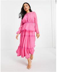 Y.A.S Petite - Ярко-розовое Ярусное Платье Макси С Плиссировкой -розовый Цвет - Lyst