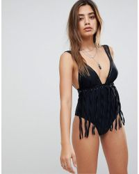 ASOS - Fringed Plunge Fishnet Swimsuit - Lyst