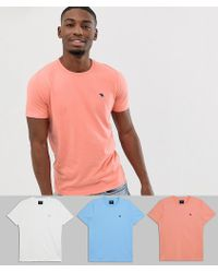 Abercrombie & Fitch 3 Pack Icon Logo Crew Neck T-shirt In Coral/white/light Blue - Multicolour