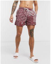 Another Influence Bandana Print Swim Shorts - Red
