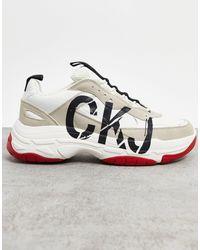 Calvin Klein Бело-коричневые Кроссовки -белый