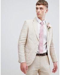 Moss Bros Giacca da abito skinny in lino crema - Neutro