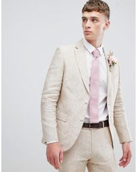 Moss Bros Moss London Skinny Suit Jacket In Cream Linen - Natural