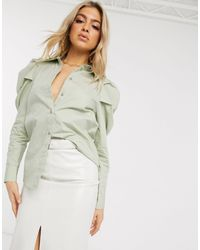NA-KD Puff Sleeve Blouse - Green