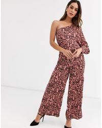 UNIQUE21 Satin One Sleeve Leopard Print Jumpsuit-pink