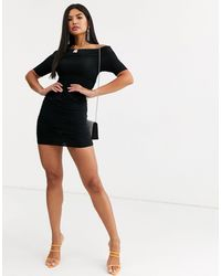 Public Desire Bardot Mini Dress With Ruching - Black