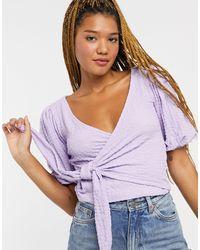 Monki Teodroa Wrap Top - Purple