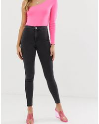 ASOS Rivington - Jeggings di jeans vita alta nero slavato