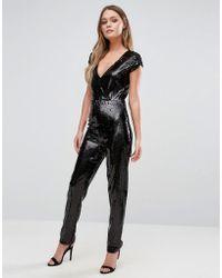 New Look - Sequin Plunge Jumpsuit - Lyst