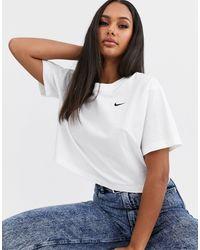 Nike Белый Кроп-топ С Логотипом-галочкой
