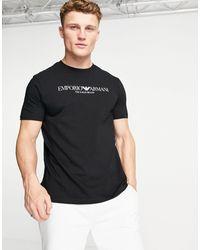 Emporio Armani - Черная Футболка С Логотипом -черный Цвет - Lyst