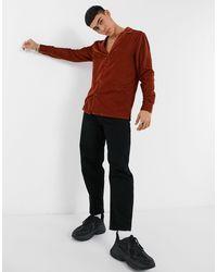 ASOS Regular Fit Velvet Shirt With Revere Collar - Brown