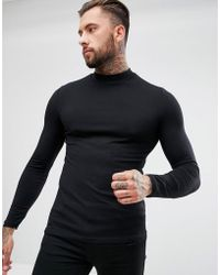ASOS DESIGN - Muscle Fit Long Sleeve T-shirt With Turtle Neck In Black - Lyst