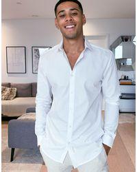 River Island Long Sleeve Slim Poplin Shirt - White