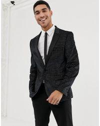 ASOS Super Skinny Tuxedo Blazer In Black Velvet With Glitter
