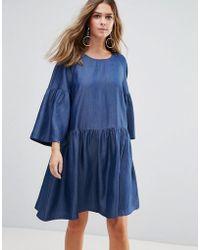 Just Female Wang Flared Sleeved Dress - Blue