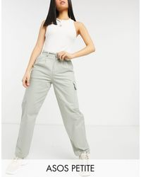 ASOS Asos Design Petite Pleat Front Chino With Cargo Pockets - Green