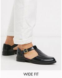 ASOS Wide Fit Vonnie Leather Flat Shoes - Black