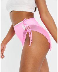 South Beach Юбка Из Эластичной Сетки С Завязкой Сбоку -розовый Цвет