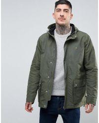 Farah - Lonsbury Patch Parka Hooded Jacket In Green - Lyst