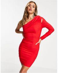Vesper Robe courte asymétrique avec découpe - Rouge