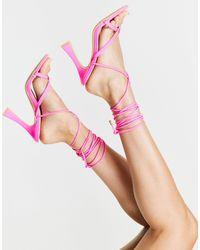 Glamorous Ярко-розовые Босоножки На Каблуке С Ремешками -розовый Цвет