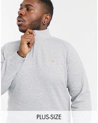 Farah Серый Меланжевый Свитшот Из Органического Хлопка На Короткой Молнии Jim Plus
