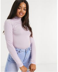 Stradivarius Long Sleeve Top With High Neck - Pink