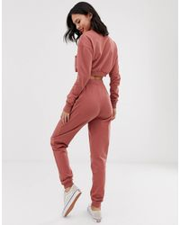 ASOS Tracksuit Cropped Sweat / Slim jogger With Tie - Pink