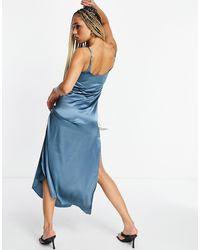 AX Paris Bridesmaid Satin Cami Maxi Dress - Blue
