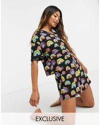 Lindex – Exclusive – er Pyjama mit T-Shirt und Shorts aus Bio-Baumwolle mit Regenbogenmotiv - Schwarz