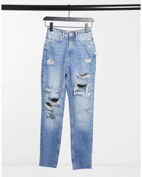 New Look Gescheurde Mom Jeans - Blauw