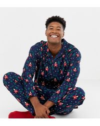 ASOS - Tall Mr & Mrs Christmas Woven Pyjama Set With Nutcracker Design - Lyst