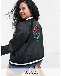 Simply Be Embroidered Bomber Jacket - Black