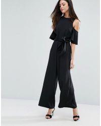 Warehouse Cold Shoulder Belted Jumpsuit - Black