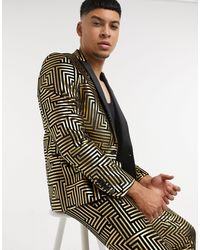 Twisted Tailor Suit Jacket With Satin Lapel With Gold Geo Foil - Metallic