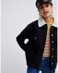 Bershka - Fleece Collar Denim Jacket - Lyst
