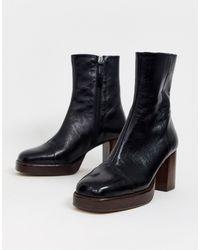 ASOS Reunion Premium Leather Platform Boots - Black