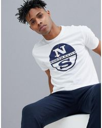 North Sails - Slim Fit Large Logo T-shirt In White - Lyst