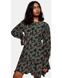 TOPSHOP Разноцветное Чайное Платье Мини С Цветочным Принтом -многоцветный