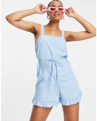 New Look Frill Playsuit - Blue