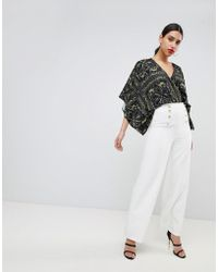 Flounce London - Wide Leg Tailored Trouser With Gold Button Detail - Lyst