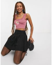 New Girl Order Ribbed Crop Top With Lace Trim And Cat Print - Brown